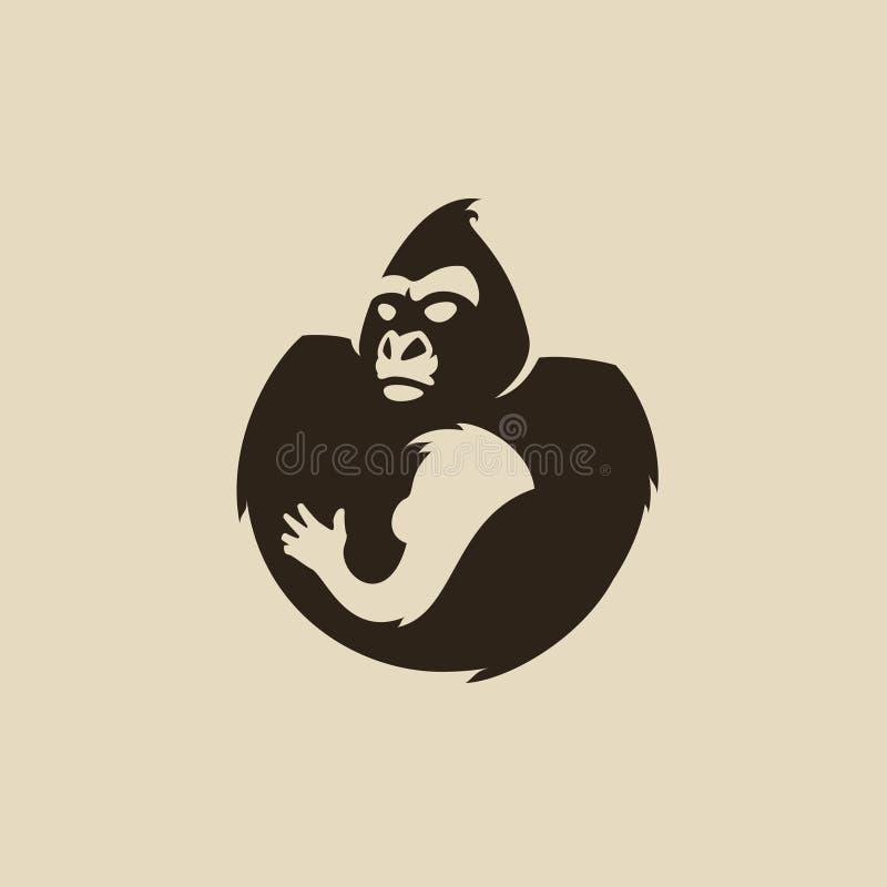 Gorillalogotyp royaltyfri illustrationer