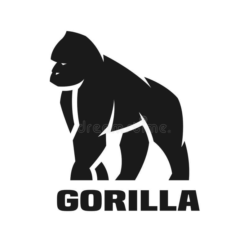 Gorillamonokromlogo stock illustrationer