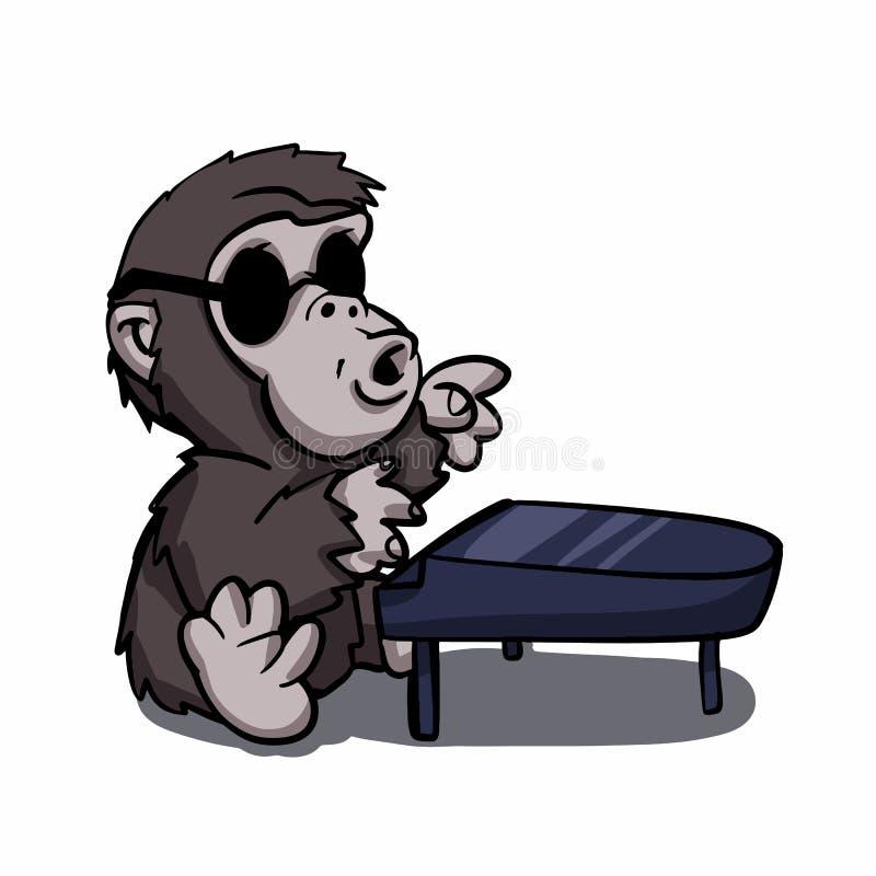 Gorillapianist - kong mit Sonnenbrille vektor abbildung