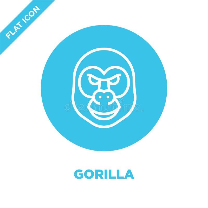 gorillasymbolsvektor från djur huvudsamling Tunn linje illustration för vektor för gorillaöversiktssymbol Linjärt symbol för bruk stock illustrationer