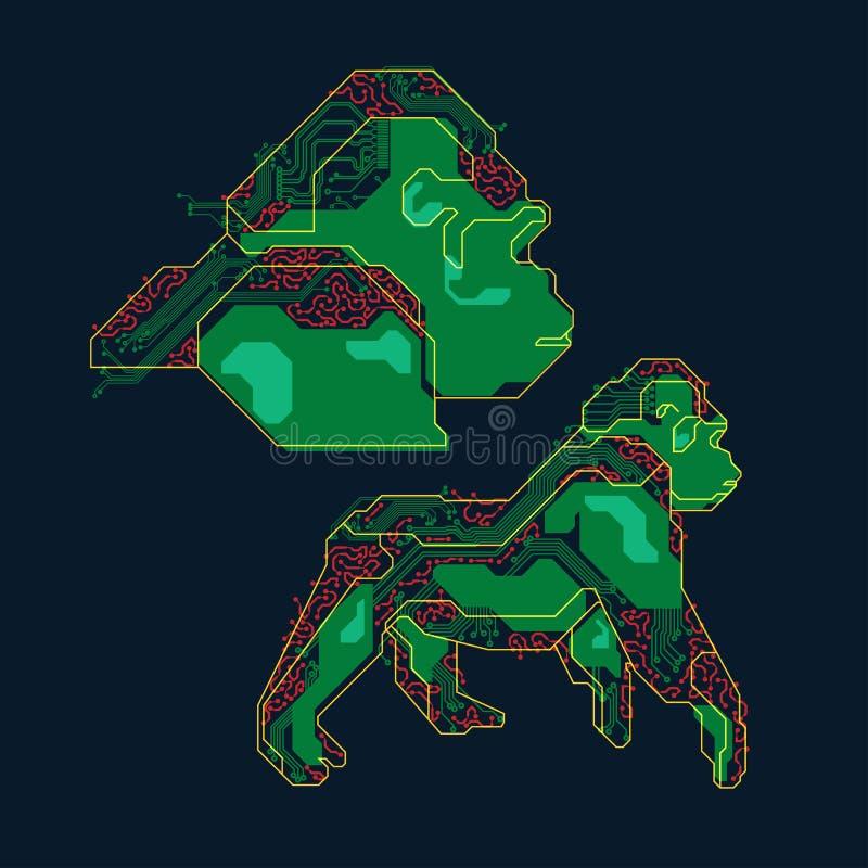 Gorille électronique illustration stock