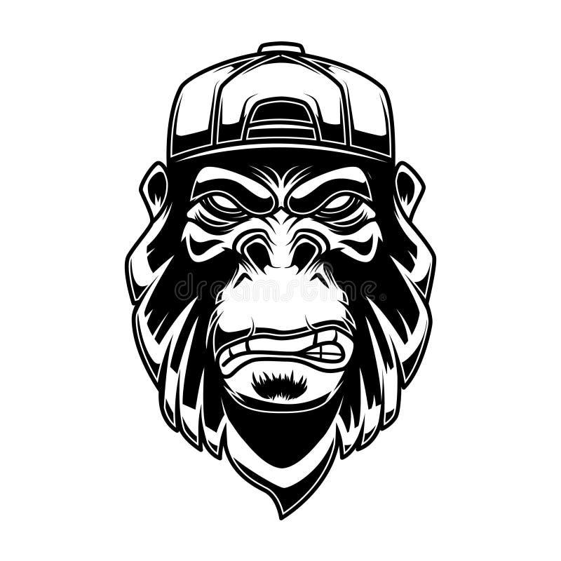 Gorille dans la casquette de baseball sur le fond blanc Concevez l'élément pour le logo, label, emblème, signe, affiche, T-shirt illustration de vecteur