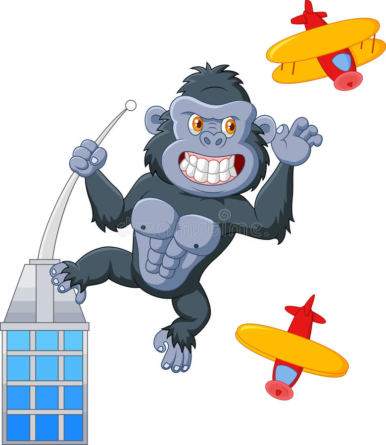 Gorille de bande dessinée au-dessus du bâtiment illustration libre de droits