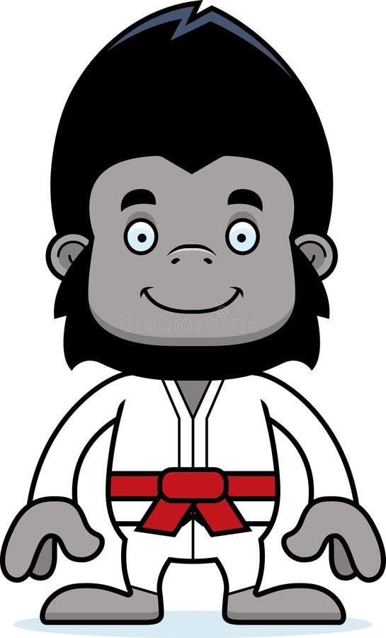 Gorille de sourire de karaté de bande dessinée illustration stock
