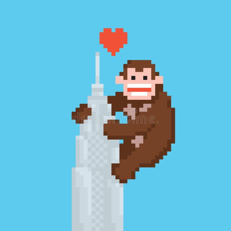 Gorille de style d'art de pixel sur un vecteur de gratte-ciel illustration de vecteur