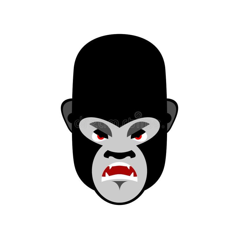 Gorille Emoji fâché Émotion mauvaise de singe d'isolement illustration stock