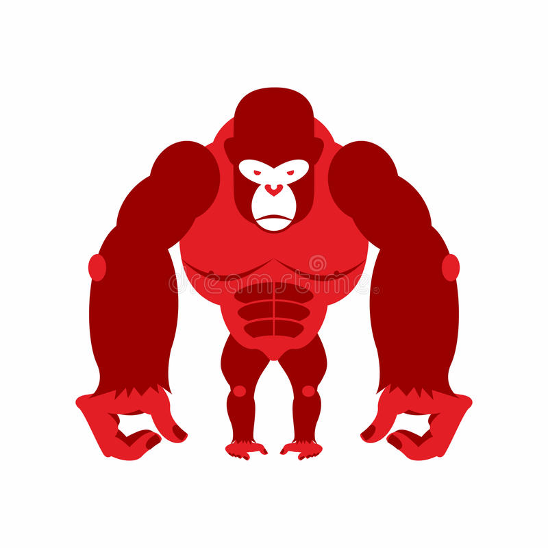 Gorille grand et effrayant Singe fâché rouge fort Illustrat de vecteur illustration stock