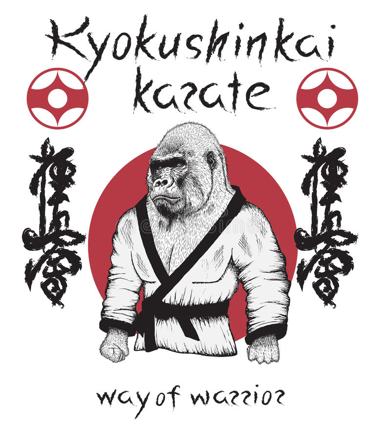 Gorille habillé dans le kimono illustration libre de droits