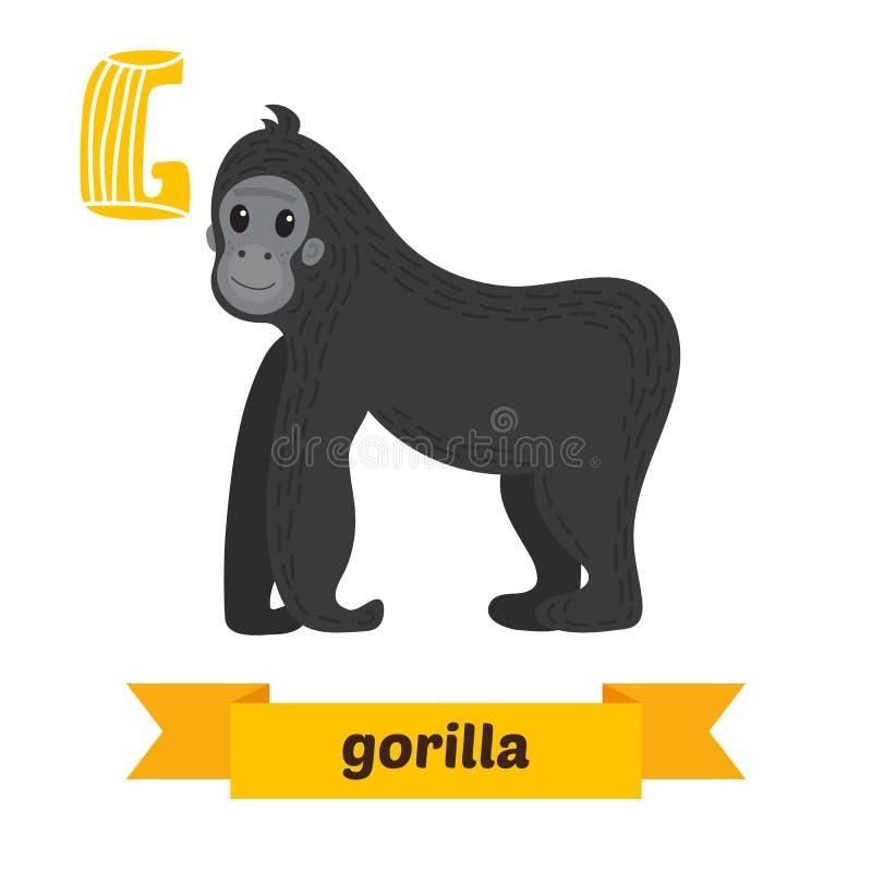 Gorille Lettre de G Alphabet animal d'enfants mignons dans le vecteur Funn illustration libre de droits