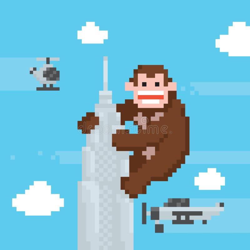 Gorille sur un dessus de vecteur d'art de pixel de vieille école de gratte-ciel illustration libre de droits