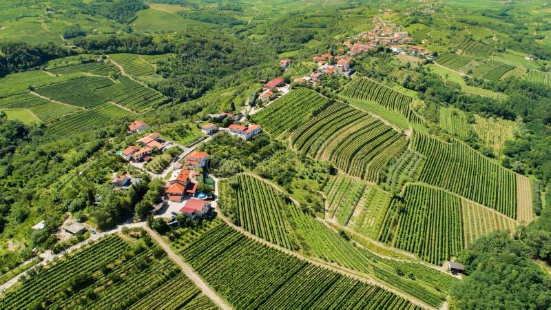 Goriska Brda from above. Aerial view of Gorica Hills - Goriska Brda, Slovenia stock image