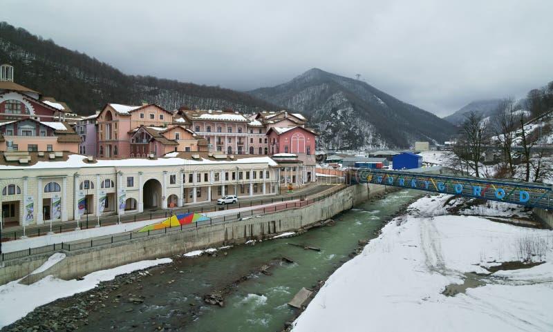 Gorki Gorod - la station touristique et le jeu de tout-saison répartissent en zones 540 mètres au-dessus de niveau de la mer photo stock