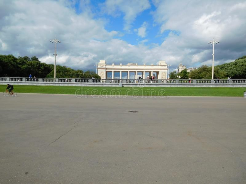 Gorky park in Moscow, view of the main entrance stock image