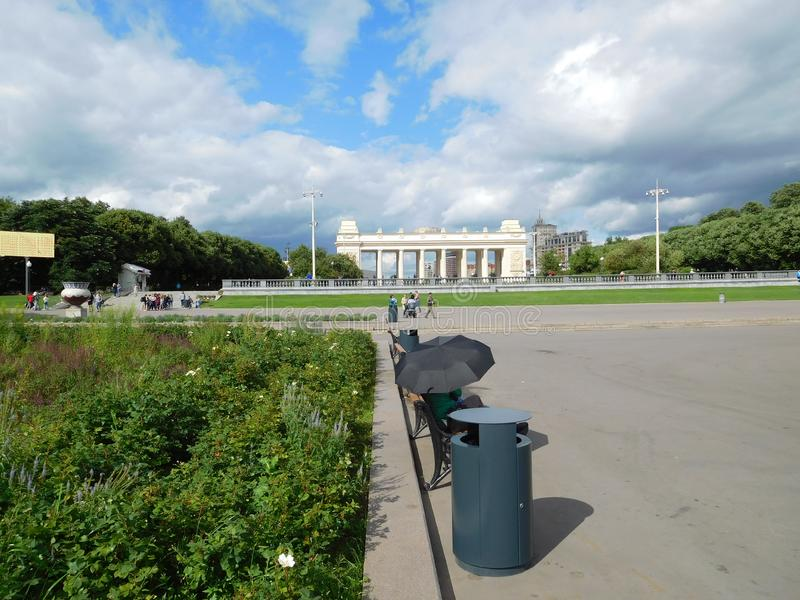 Gorky park in Moscow, view of the main entrance royalty free stock photos