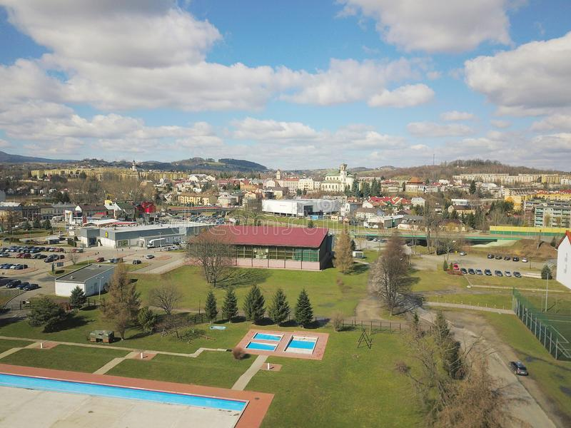 Gorlice, Poland - 3 9 2019: Panorama of a small European medieval city at the present time. View from the drone or quadrocopter on royalty free stock images