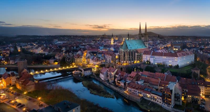 Gorlitz, Deutschland Panoramasicht auf die Altstadt bei Dämmerung lizenzfreie stockfotografie