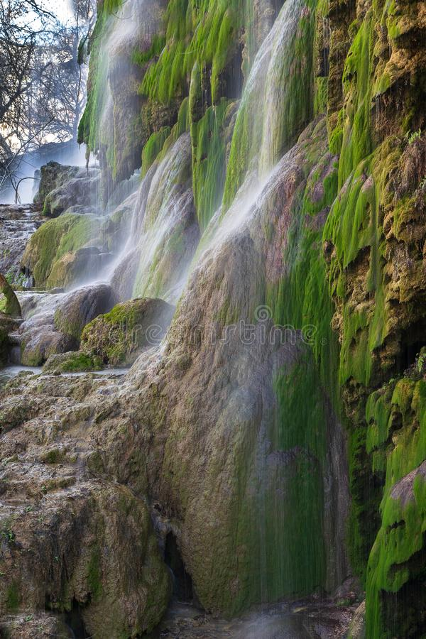 Waterfalls of Colorado Bend State Park in Central Texas stock images