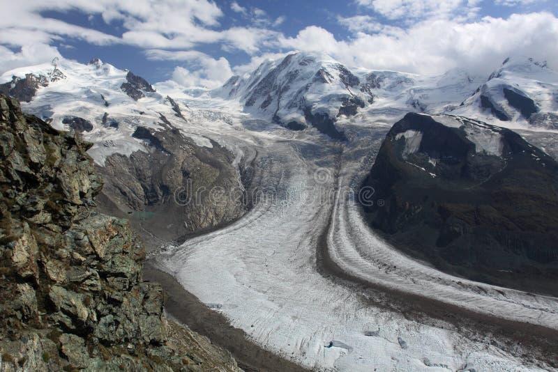 Gorner glacier. A view of Dufourspitze and Gorner Glacier from Gornergrat stock photography