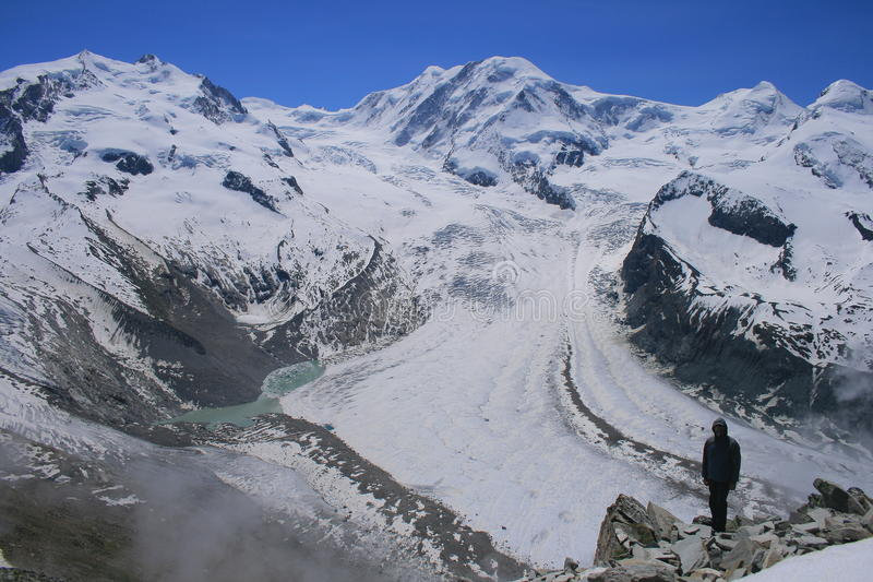 Gornergrat冰川在瑞士阿尔卑斯 免版税库存图片