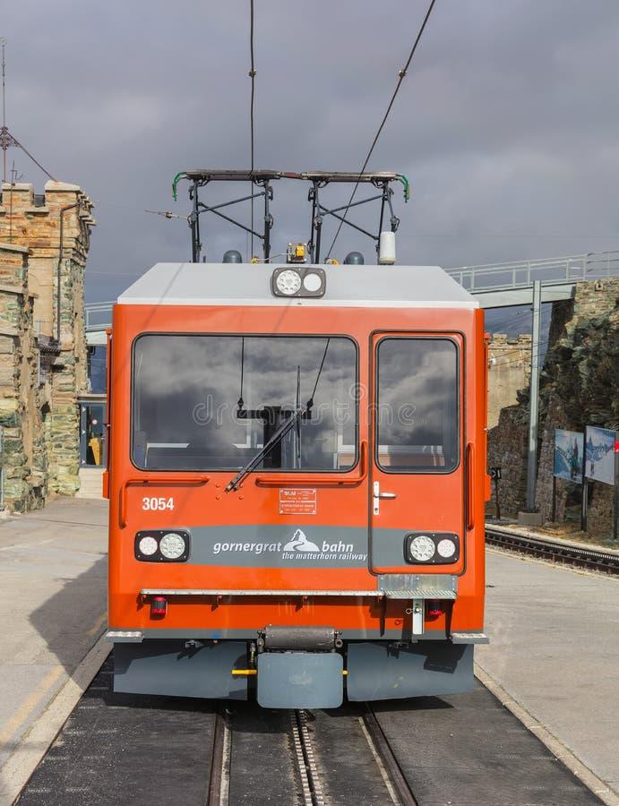 Gornergrat铁路火车的机车 库存图片