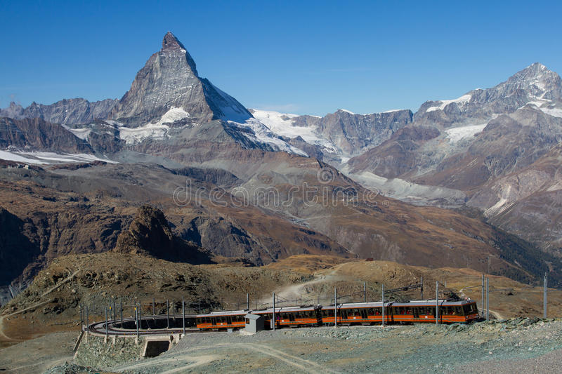 Gornergrat. The train come up to Gornergrat royalty free stock photos