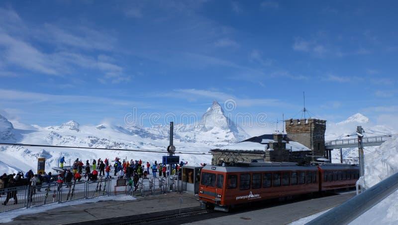 Gornergrat bahn, Zermatt, Matterhorn obraz stock
