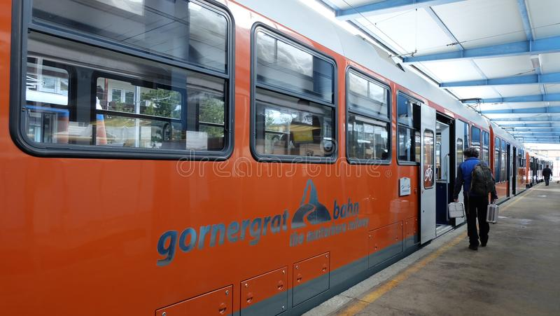 Gornergrat bahn, Zermatt, Matterhorn. The Gornergrat is a starting point for many hikes, as it lies surrounded by 29 peaks rising above 4,000 m & x28;13,123 ft& stock photography