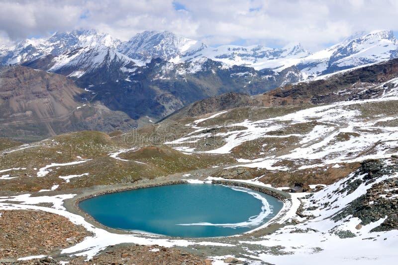 Gornergrat lake and mountain ridge, Switzerland stock images