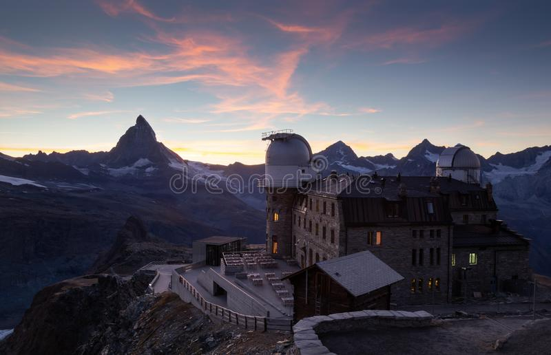 Gornergrat and Matterhorn. Planetarium at the Gornergrat and the Matterhorn during a nice sunet in Switzerland royalty free stock photography