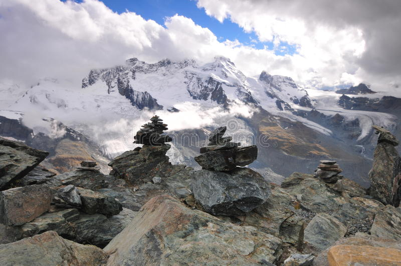 Gornergrat mountain. Mountain Gornergrat in Switzerland with stone stock photos
