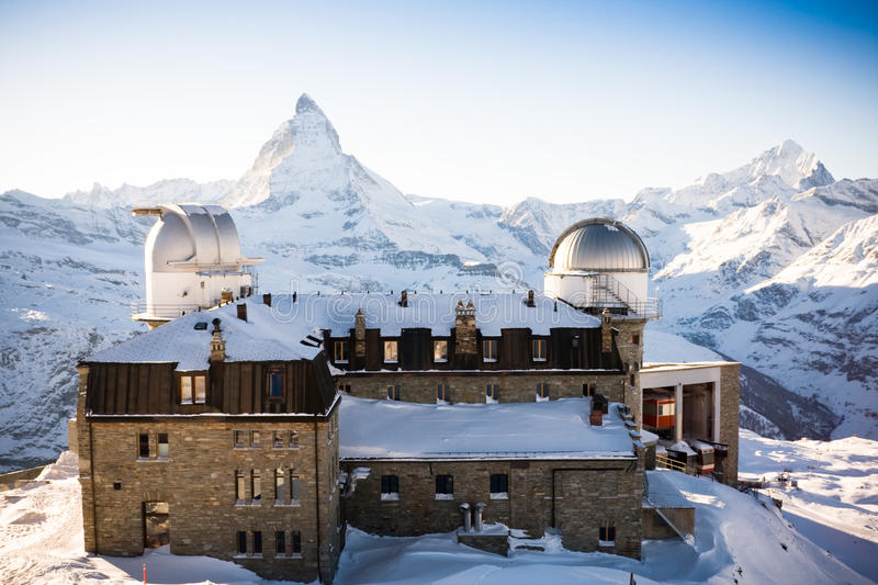 Gornergrat observatory. An old observatory at Gornergrat with a view on Matterhorn. Swiss Alps royalty free stock images