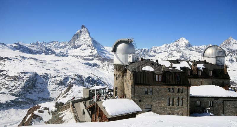 The Gornergrat Observatory. And Matterhorn peak with clear blue sky, Zermatt Switzerland royalty free stock images
