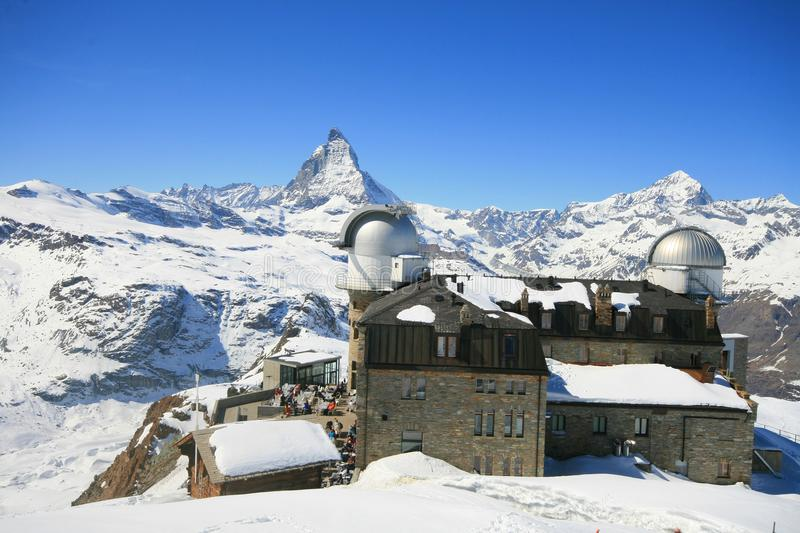 Gornergrat Observatory. Panoramic view of the Gornergrat Observatory with Matterhorn in the background, Zermatt, Switzerland royalty free stock photo