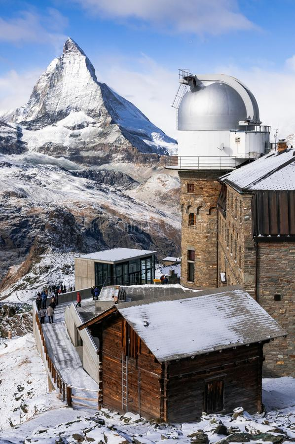 Gornergrat observatory planetarium with Matterhorn in background, Swiss Alps, Zermatt, Switzerland. View of Matterhorn mountain with Gornergrat observatory stock photos