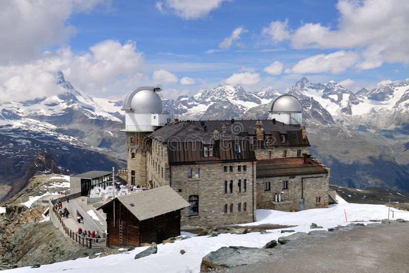 Gornergrat observatory, Switzerland. View on the Gornergrat observatory and a mountain ridge, Switzerland, 16.06.11 stock photography