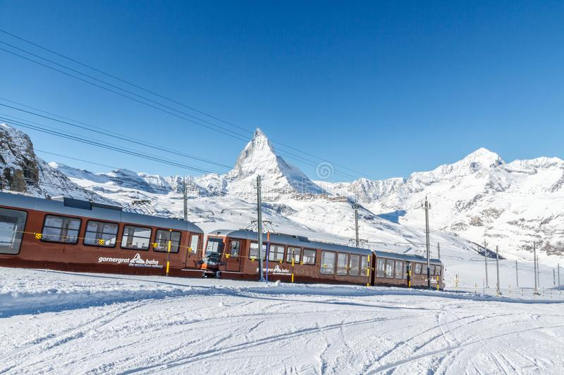 The Gornergrat Railway and Matterhorn in the Swiss Canton of Valais. The Gornergrat Railway is an electric rack railway, which takes people from the resort stock photos