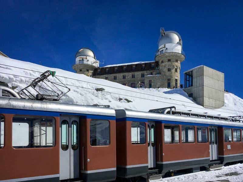 Gornergrat railway Gornergratbahn at Gornergrat station with royalty free stock images