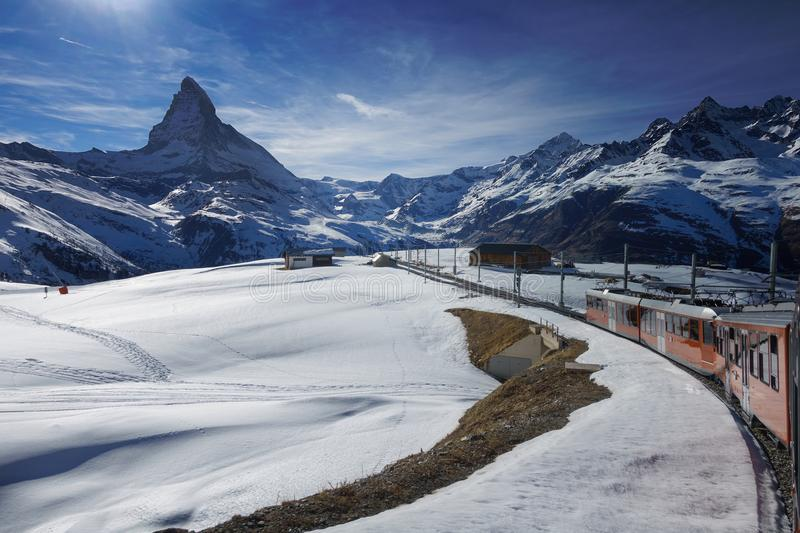 Gornergrat railway towards Matterhorn mountain in Switzerland royalty free stock images
