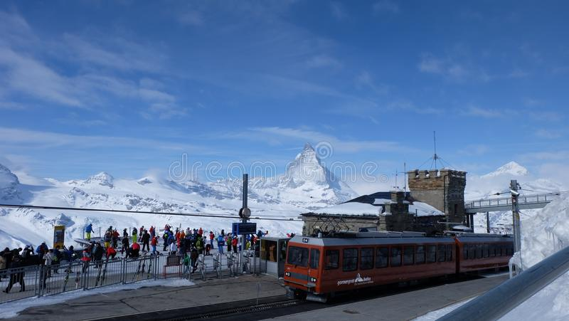 Gornergrat bahn, Zermatt, Matterhorn. The Gornergrat is a starting point for many hikes, as it lies surrounded by 29 peaks rising above 4,000 m & x28;13,123 ft& stock image