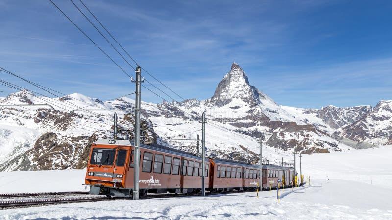 Gornergrat Train in front of Matterhorn stock image