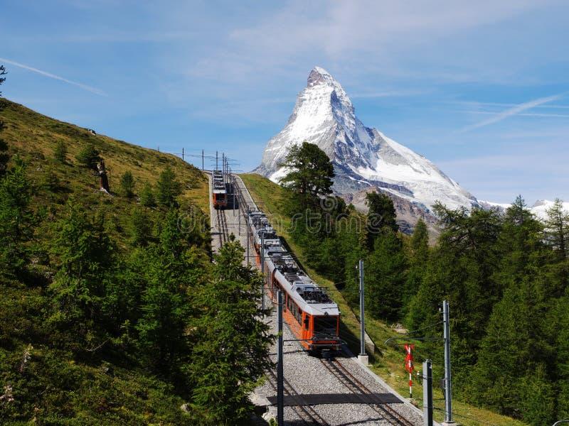 Gornergrat Train With Matterhorn Royalty Free Stock Photos