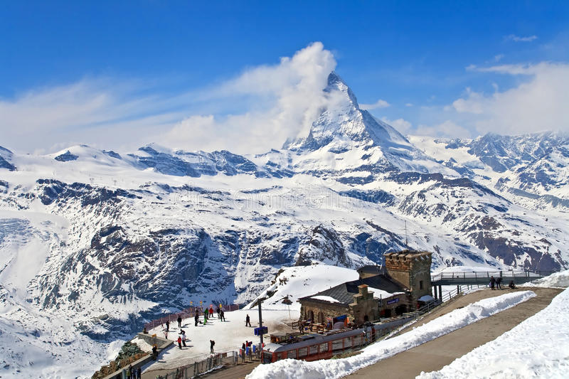 Gornergrat Train Station and Matterhorn peak. Landscape of Gornergrat Train Station and Matterhorn peak, logo of Toblerone chocolate, located at Switzerland stock photo