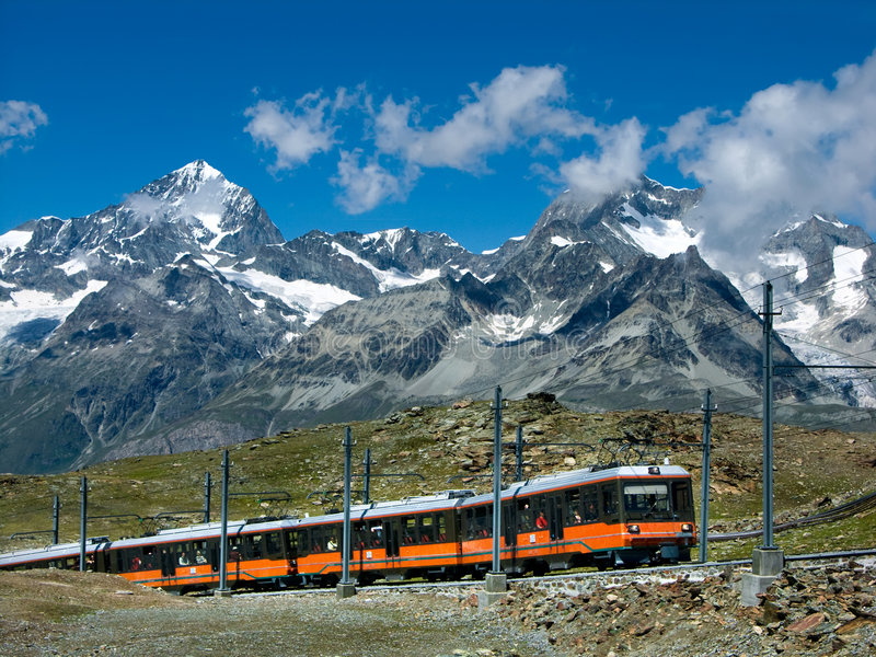 Gornergrat train Switzerland. The Gornergratbahn is a 9 km long gauge mountain rack railway, with Abt rack system. It leads from Zermatt (1604 m), up to the royalty free stock images