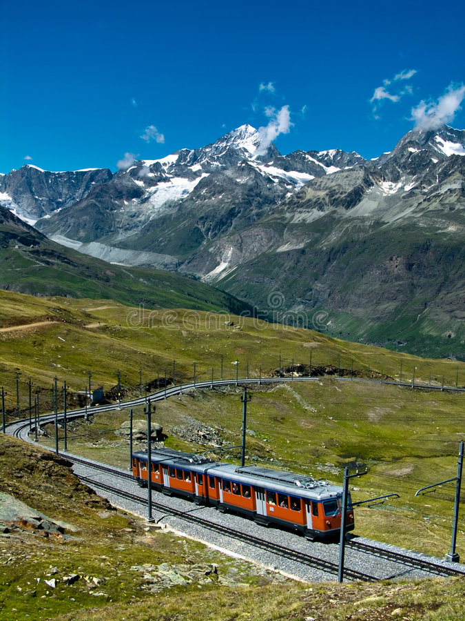 Gornergrat train Switzerland. The Gornergratbahn is a 9 km long gauge mountain rack railway, with Abt rack system. It leads from Zermatt (1604 m), up to the stock photography