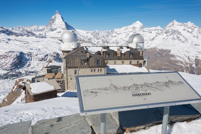 Gornergrat view on Matterhorn mountain in Zermatt royalty free stock images