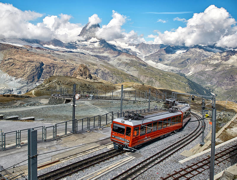 Gornergrat Zermatt, Switzerland, Swiss Alps. Gornergrat Zermatt, Switzerland - 18 JULY, 2017: Gornergrat Zermatt. Landscape of Matterhorn mountain with railway stock images