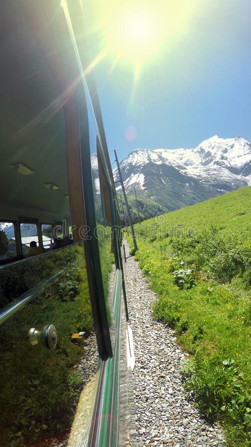 The Gornergratbahn is a 9 km long gauge mountain rack railway, with Abt rack system stock photo