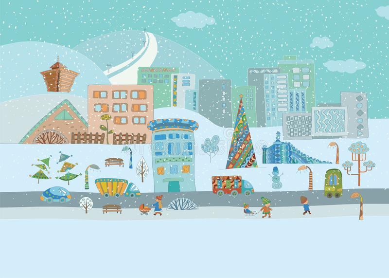 Panorama. Colorful hand-drawn of winter city life royalty free stock images