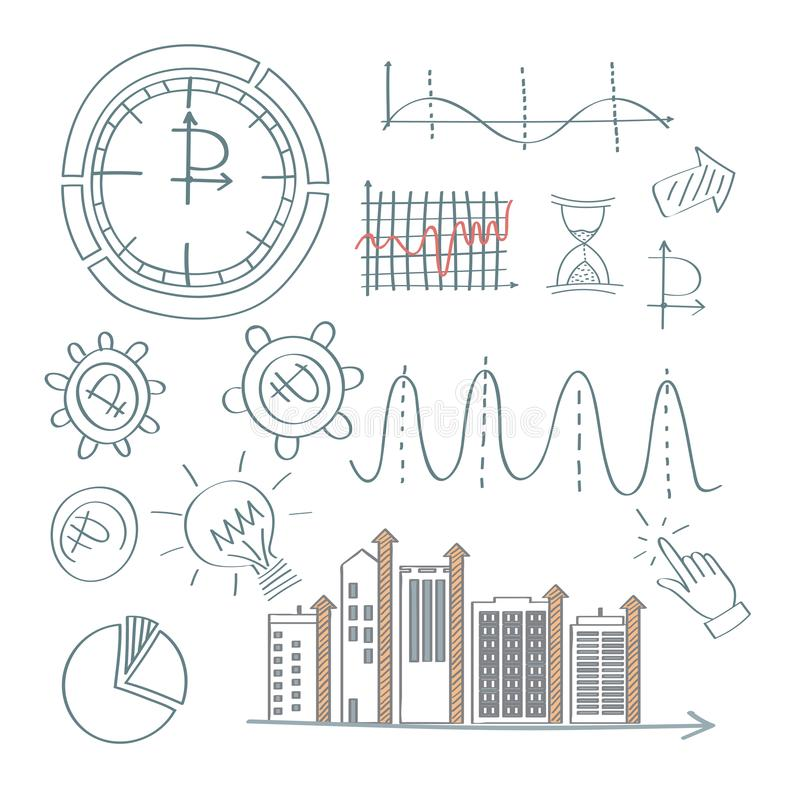Set of analitic financial concept infografic with charts stock photos