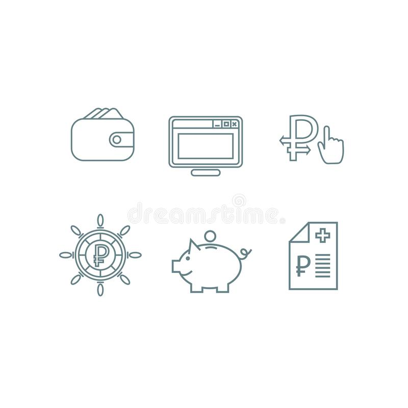 Set of analitic financial concept infografic with icons royalty free stock photos